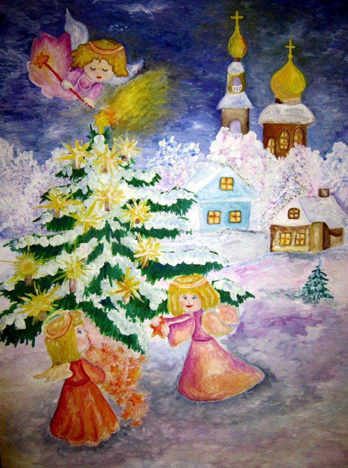Детский конкурс рождественских открыток, для